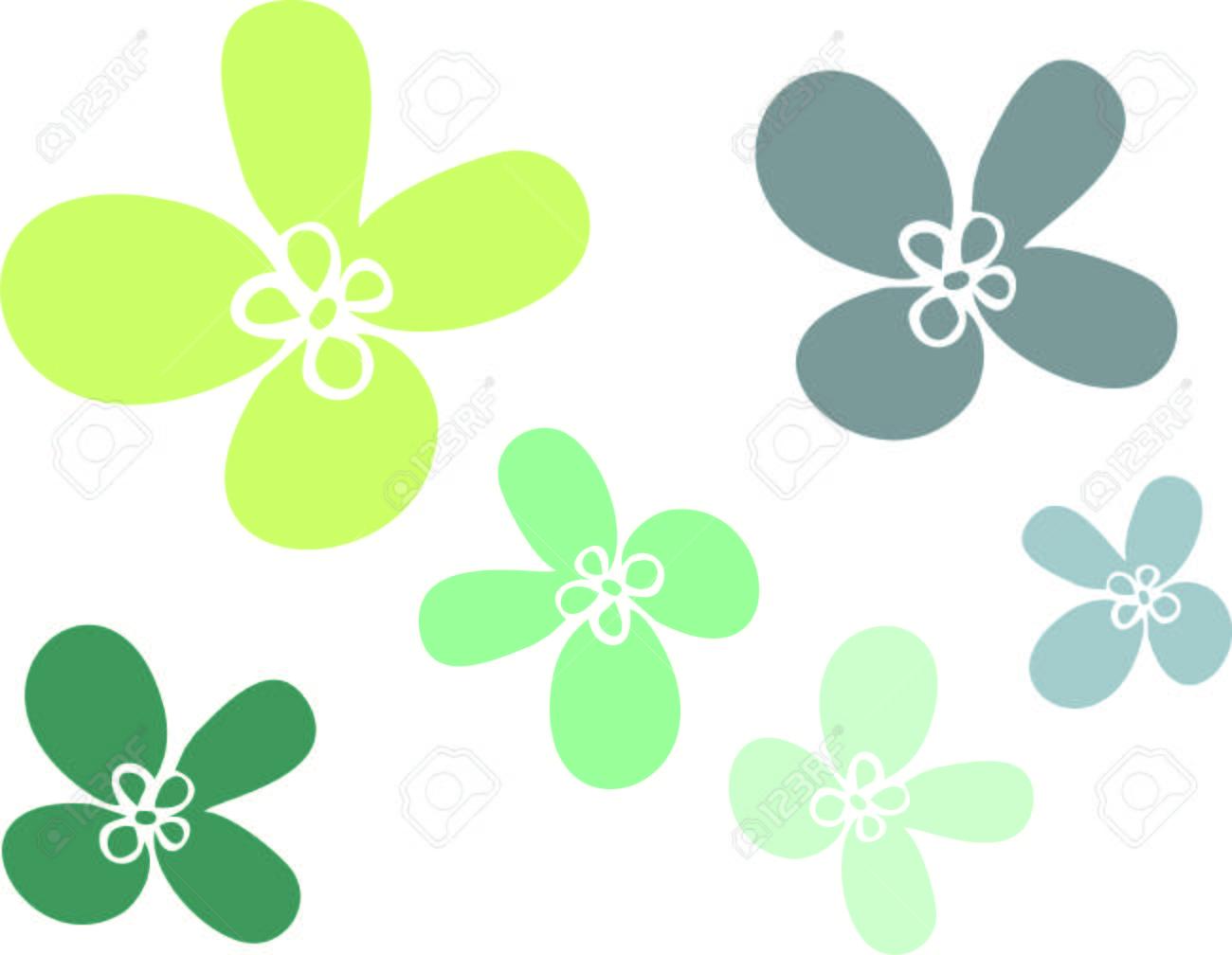 Flores Simples De Varios Tamaños, De Color Verde, Ilustraciones ...