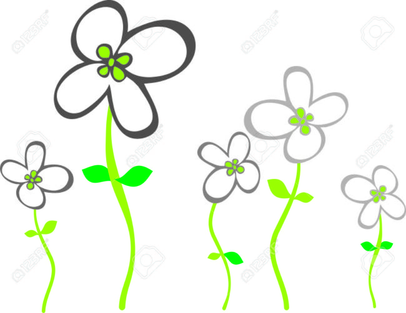 Flores Grises Simples Con Cuatro Pétalos Con Tallos Verdes 1 ...