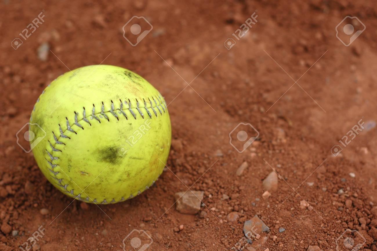 Yellow Softball Image a Well Used Yellow Softball on