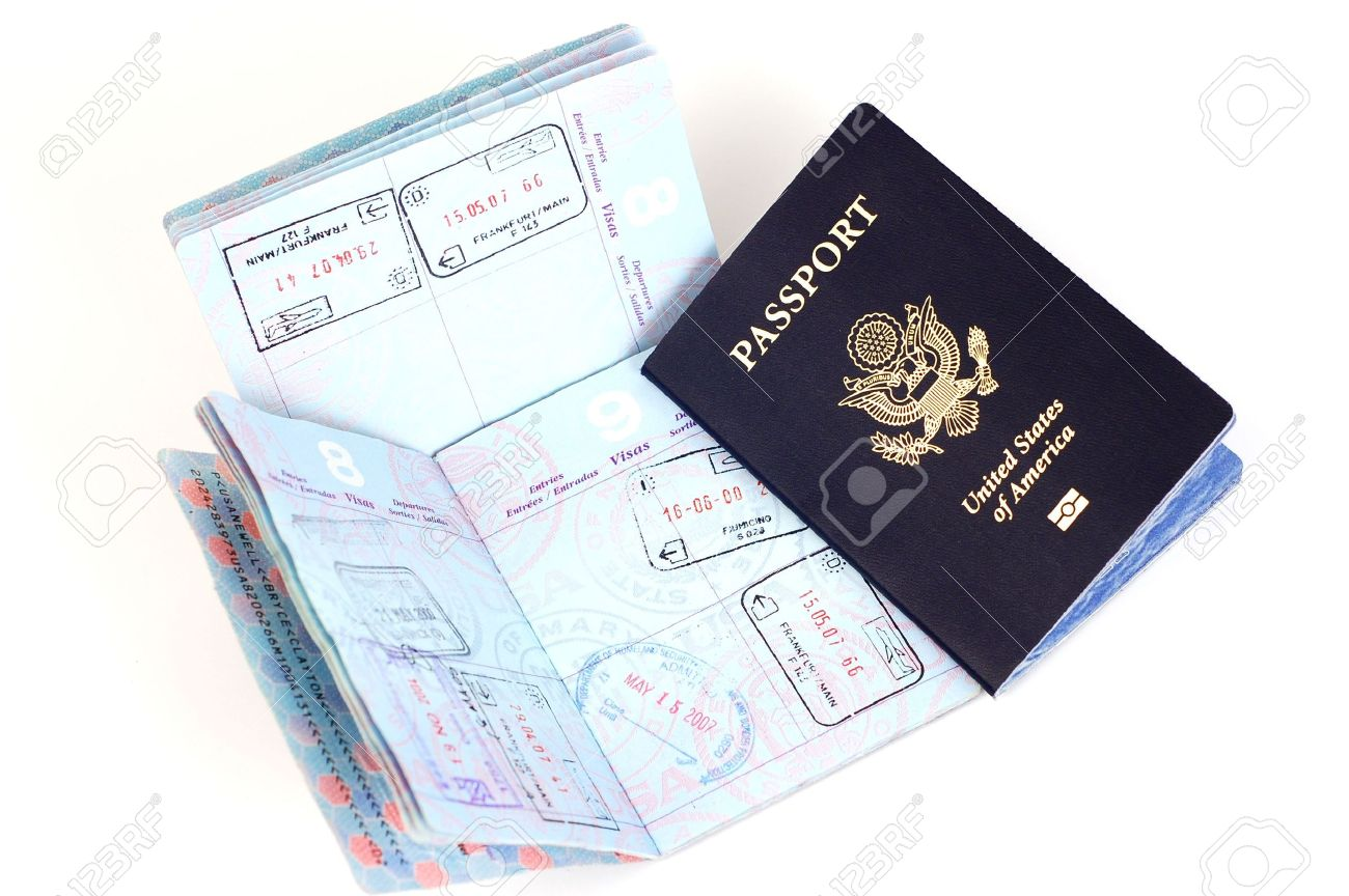 us passports with stamps for airports in london rome frankfurt