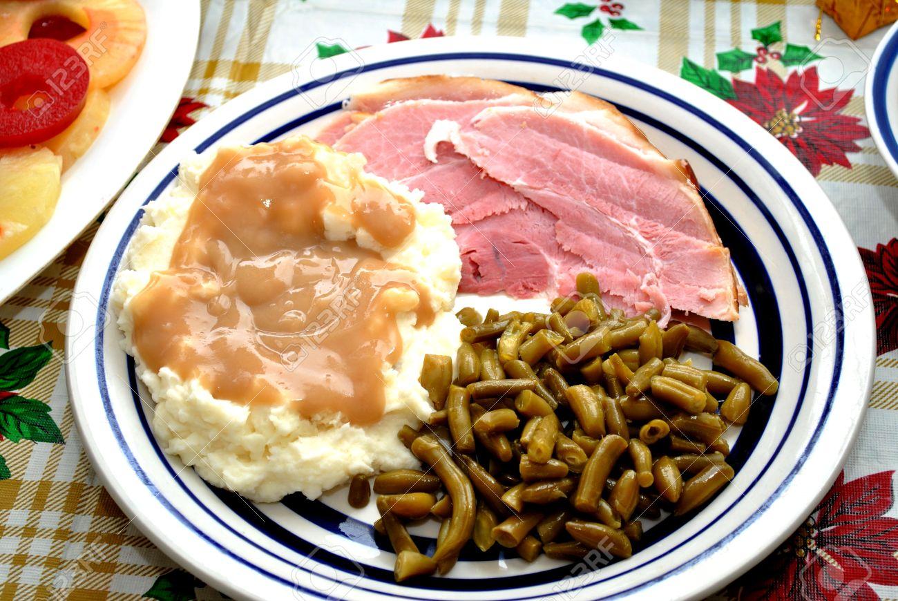 Christmas Ham Dinner.Ham Potatoes And Green Beans For Christmas Dinner