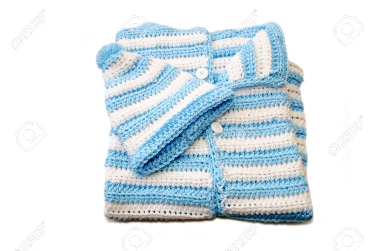 Blue White Newborn Crochet Baby Bunting Hat Stock Photo Picture