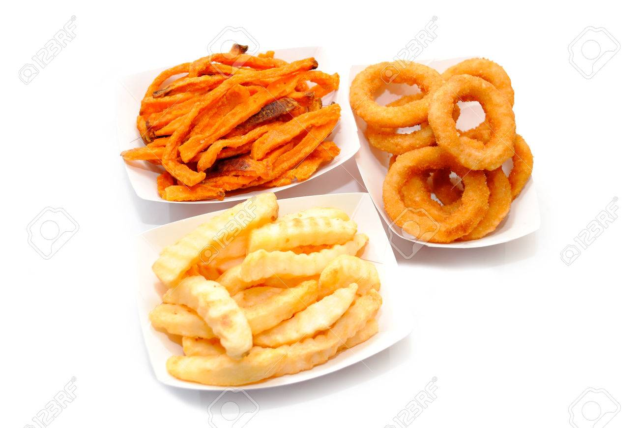 French Fries Sweet Potato Fries And Onion Rings Stock Photo 36211039