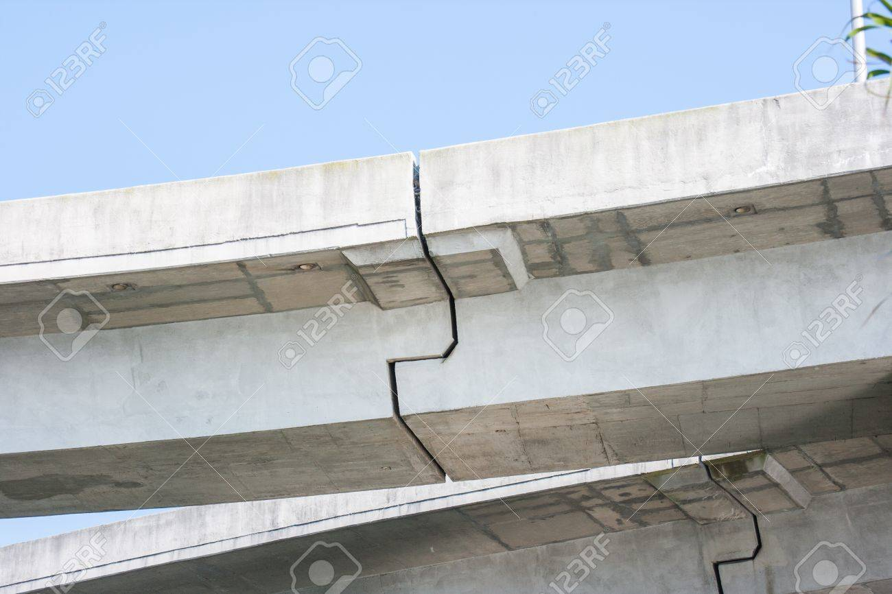 Concrete overpass cracks where constucted together Stock Photo - 15313898