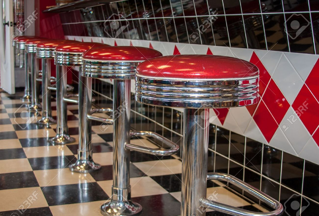 Classic 50s Style Bar Stools In Chrome And Red Stock Photo Picture