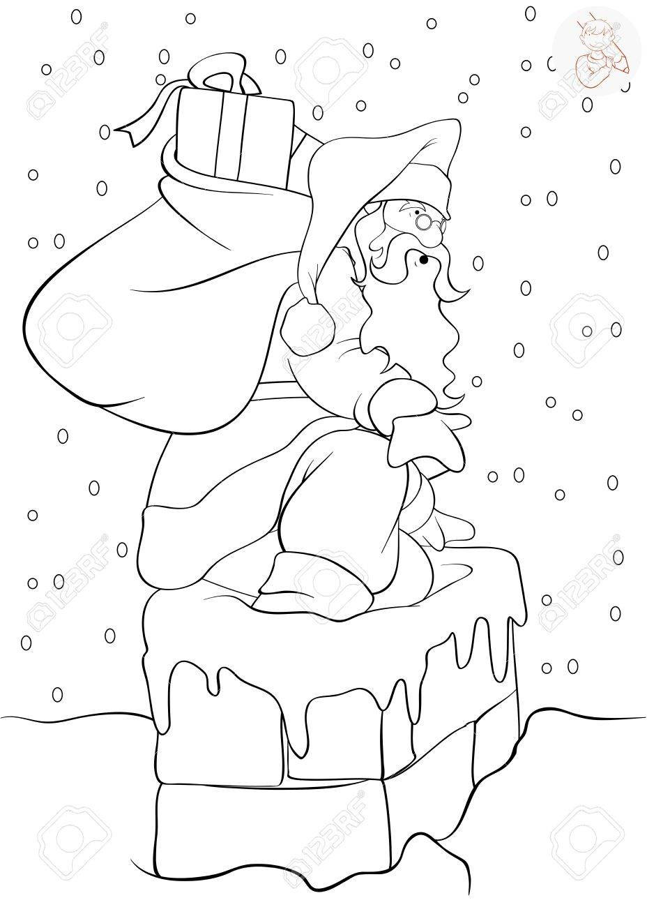 santa claus coming down the chimney with presents coloring