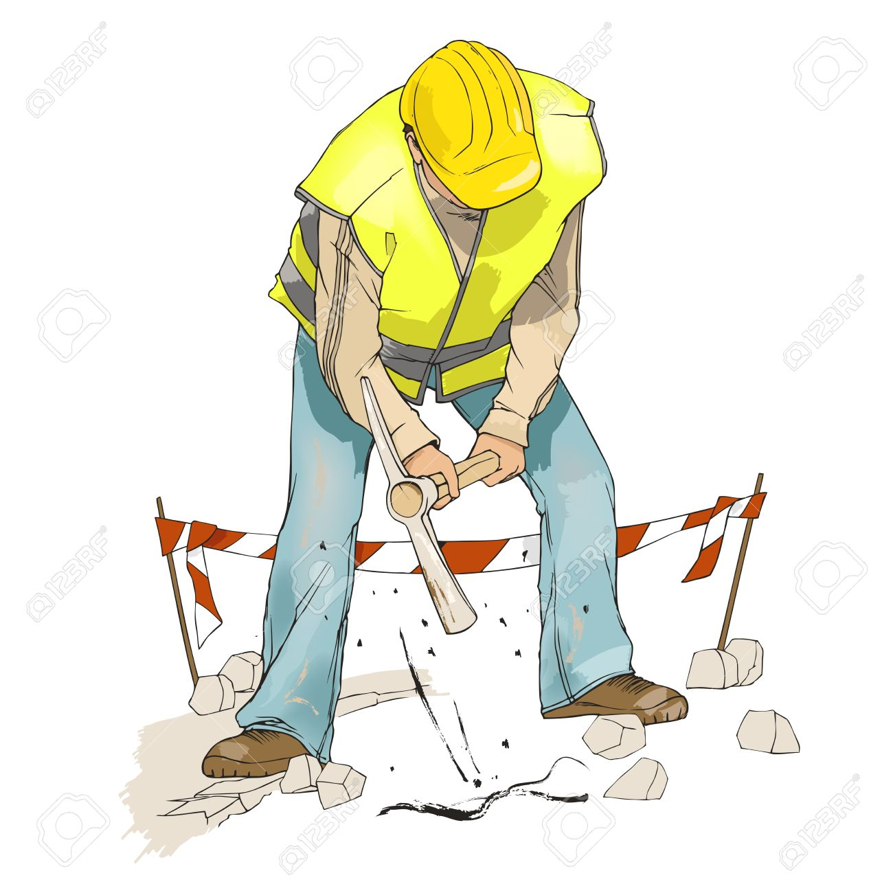 Civil Construction Man Digging With Pick Wearing A Yellow Helmet And Reflective Vest
