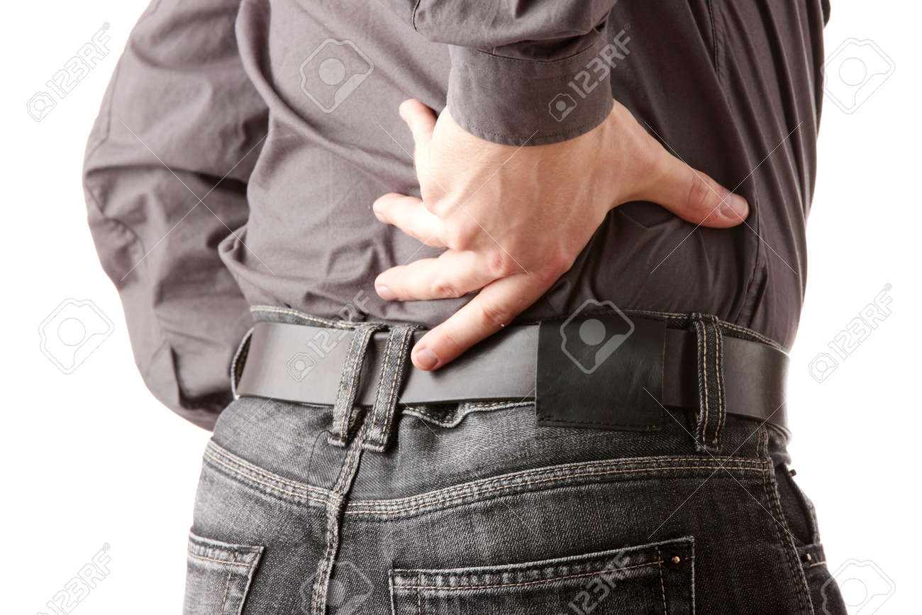 Man with back pain isolated Stock Photo - 5401222
