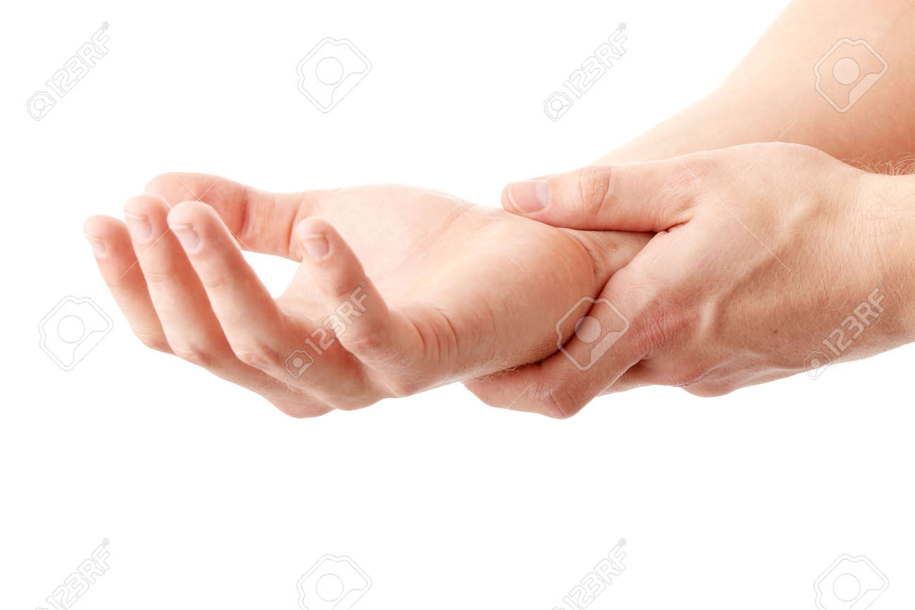 Man holding his hand - pain concept Stock Photo - 5387149