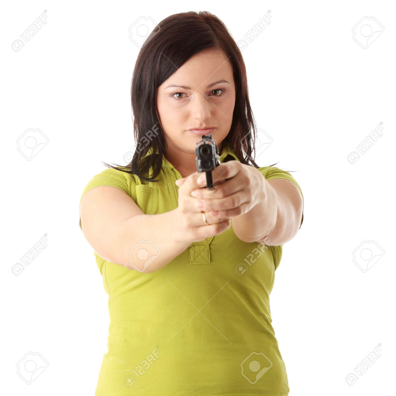 Angry woman with gun isolated on white Stock Photo - 5770036