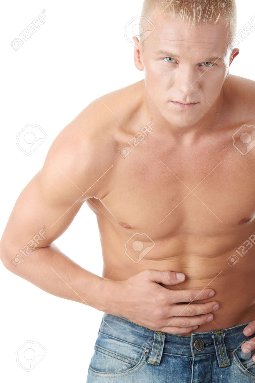 A man suffering in pain in his stomach isolated Stock Photo - 6019401