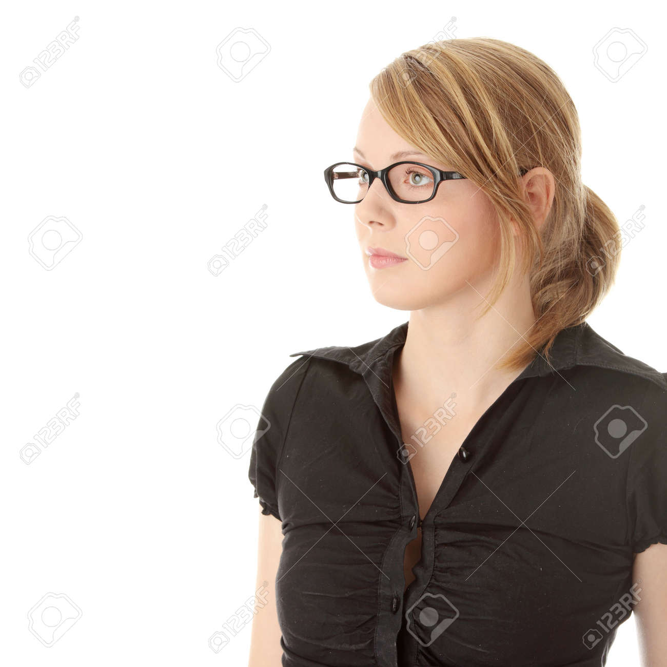 Portrait of a pretty young woman in glasses. Education or business concept. Isolated Stock Photo - 6185154