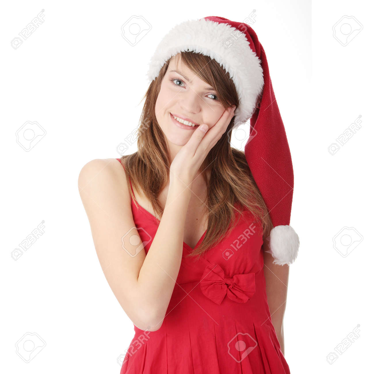 Christmas dress teen - Portrait Of Pretty Christmas Teen Girl In Red Dress And Santa Hat Smiling Isolated On