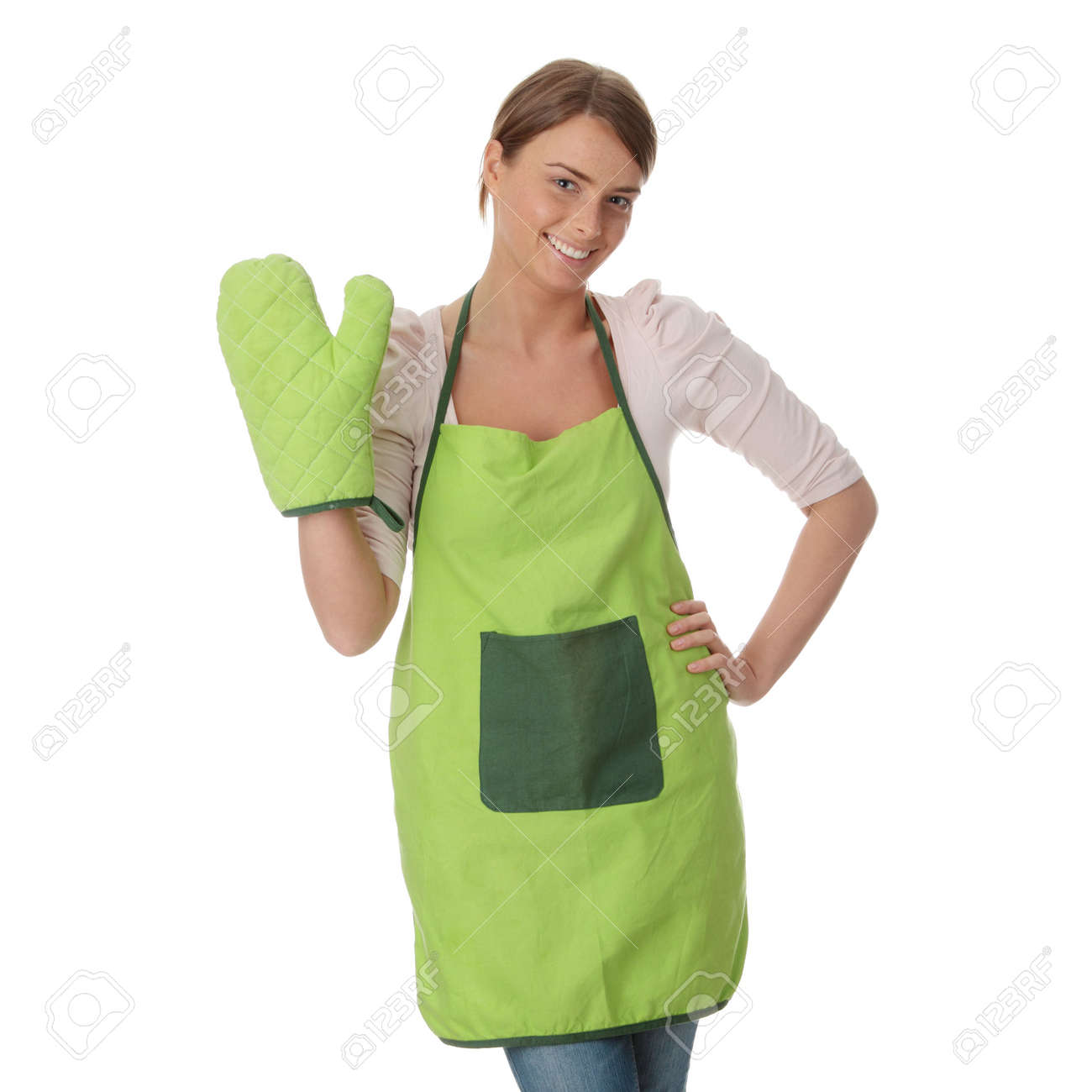 White apron green thumb - Stock Photo Young House Wife In Kitchen Isoalted On White Background