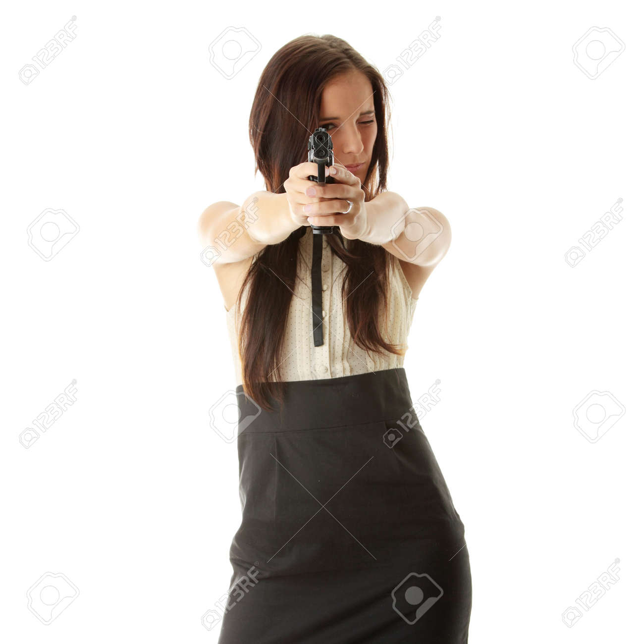 Young woman with hand gun isolated Stock Photo - 6300265
