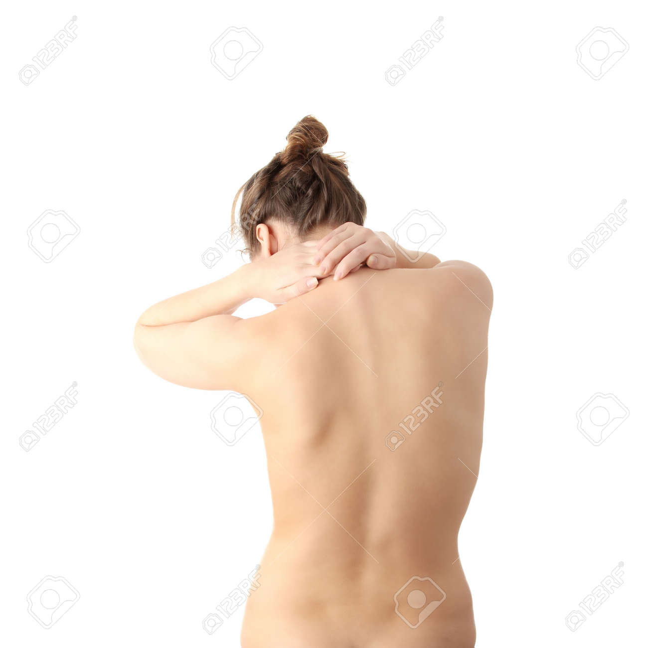Nude woman with neck pain , isolated on white background Stock Photo - 6475392