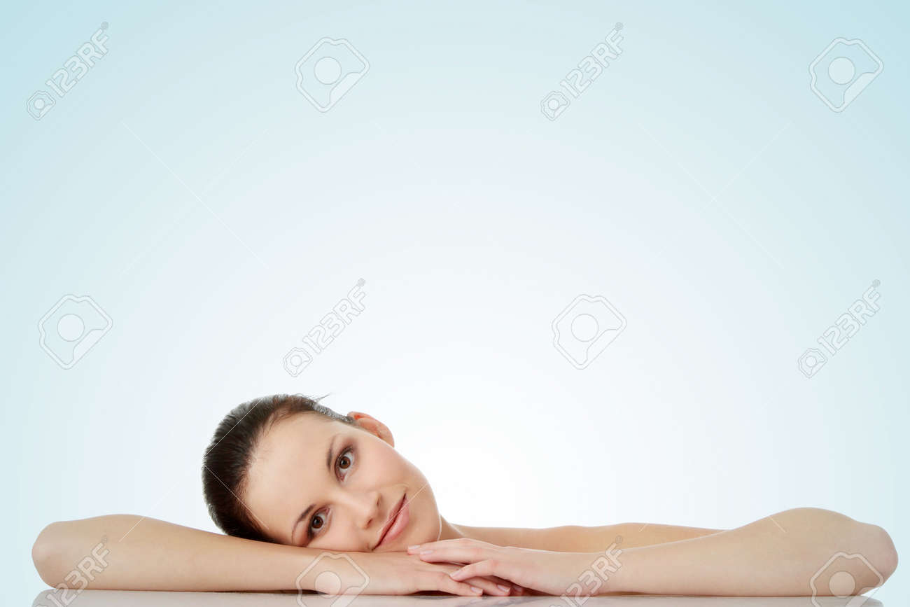 Close-up, portrait of a beautiful woman getting ready for the spa treatment Stock Photo - 6475302