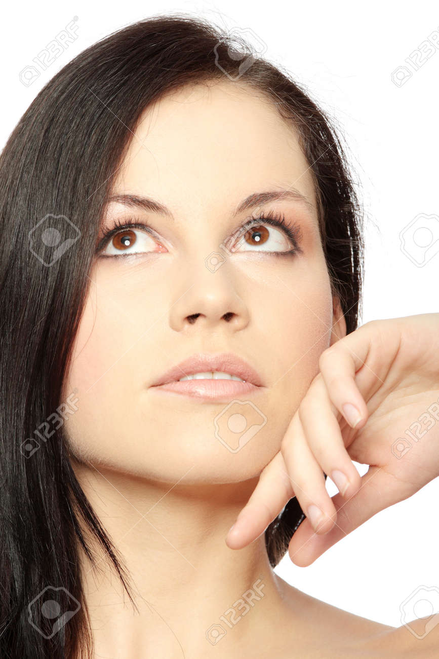 Close-up of beautiful woman face, over white background Stock Photo - 6954479
