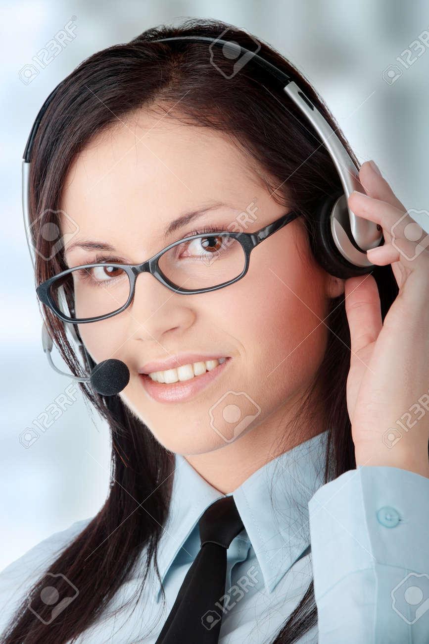 Young beautiful caucasian call cener worker Stock Photo - 6955146