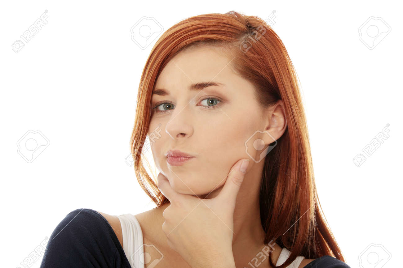 Thoughtful business woman, isolated over a white background Stock Photo - 8960168