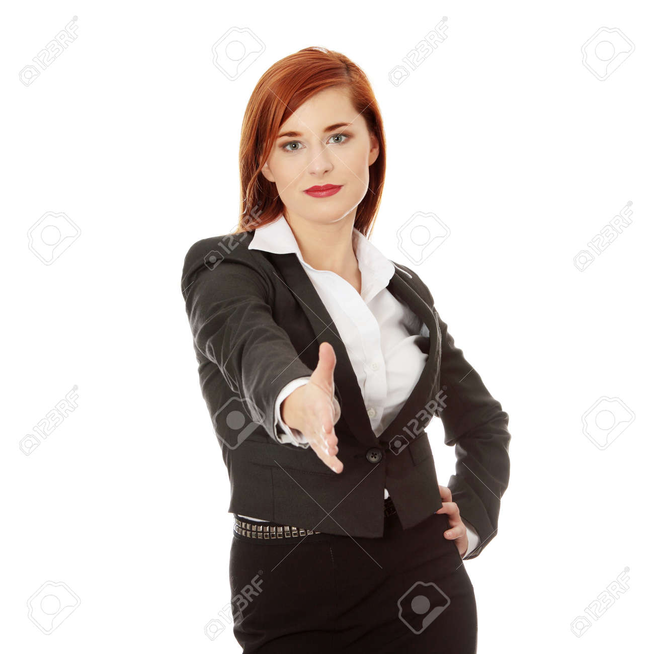 Business woman extend hand over white background Stock Photo - 8959567
