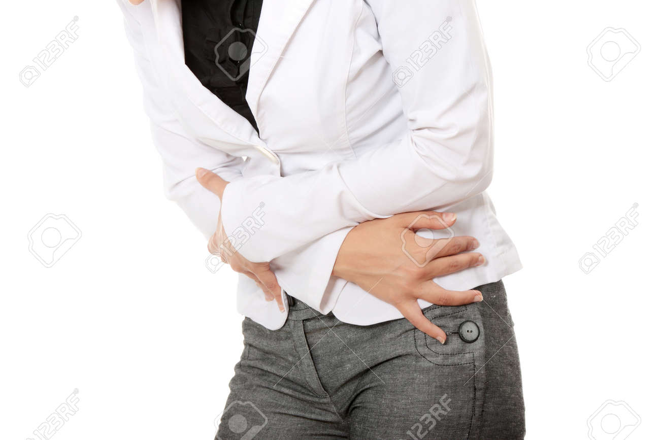 Woman with stomach issues isolated on white background Stock Photo - 9017843