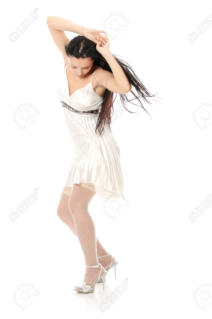 Sexy women in short dress over white Stock Photo - 24505359