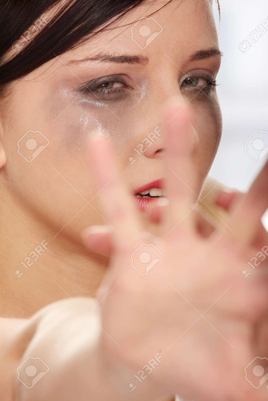 Abused woman crying Stock Photo - 9021053