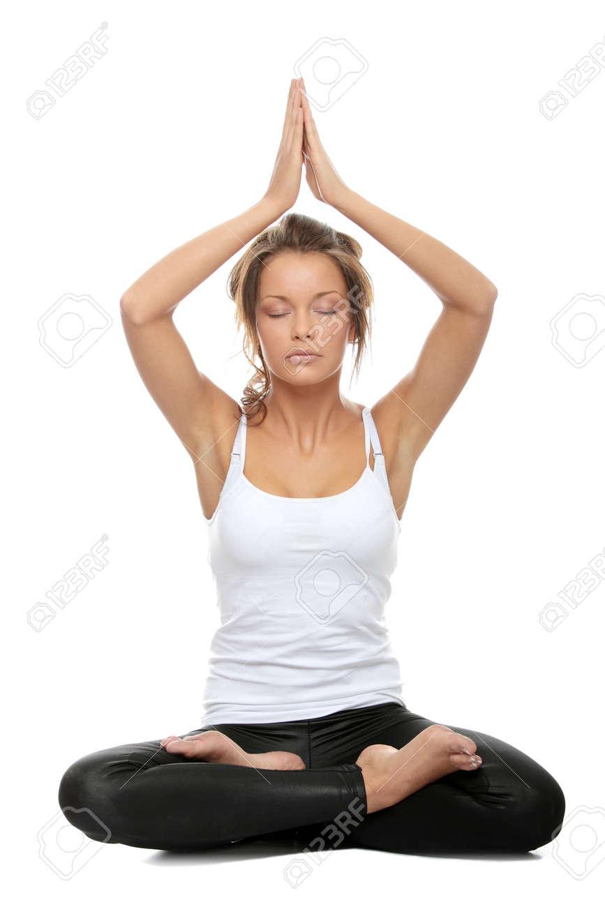 Foto de archivo - Mujer haciendo nombre sánscrito de yoga postura - fácil  suponer 1cc9f8232796