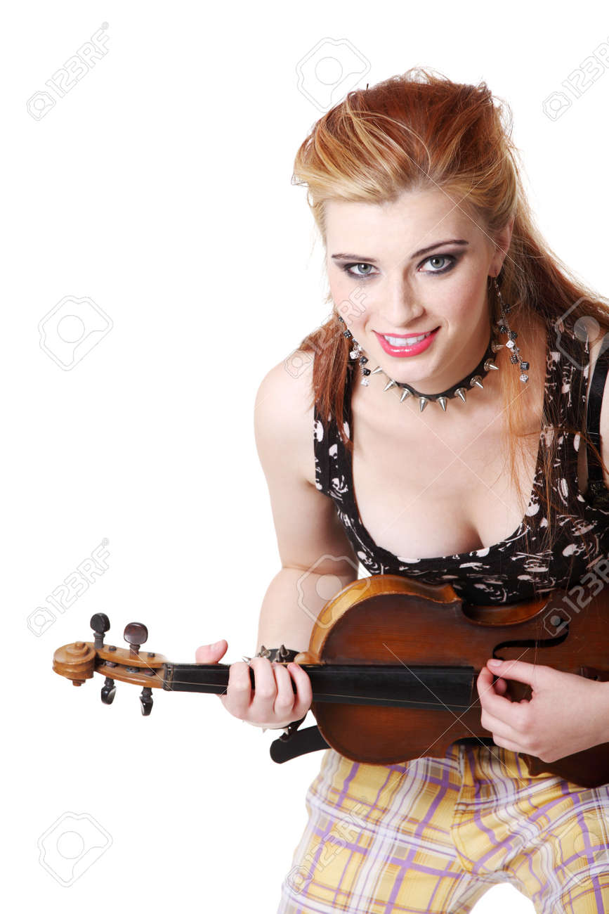 Teen rebel punk girl playing fiddle by her hands over white. Stock Photo - 11254043