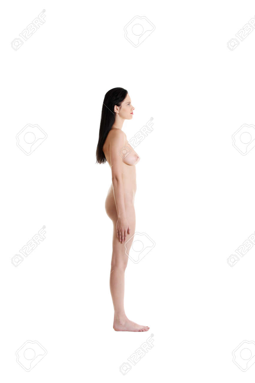 Attractive caucasian standing naked girl. Isolated on white. Stock Photo -  11253894