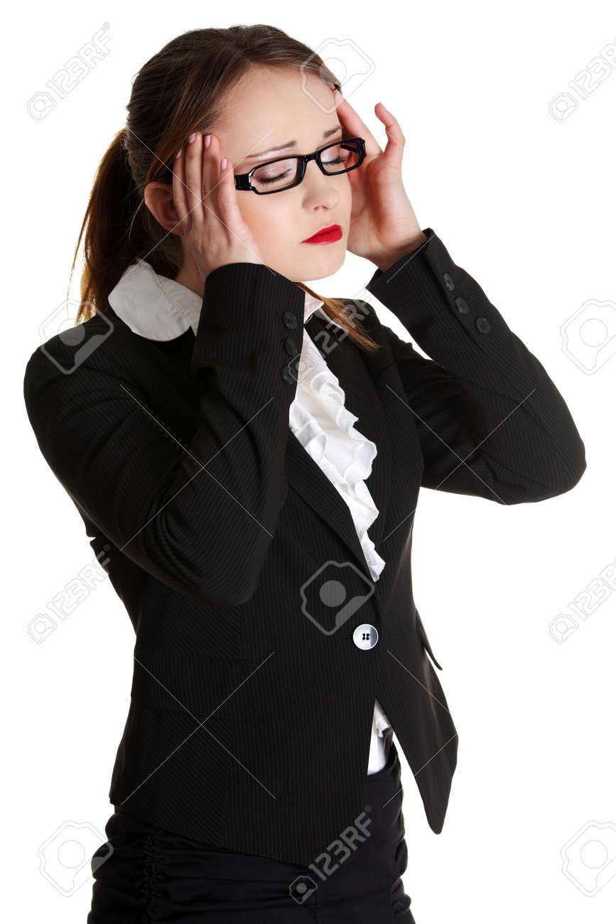 Business woman heaving headache,isolated on white. Stock Photo - 13188602