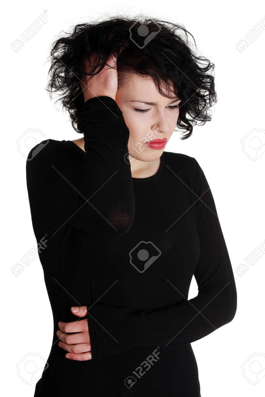 Women suffering from headache , isoalted on white background. Stock Photo - 13188589