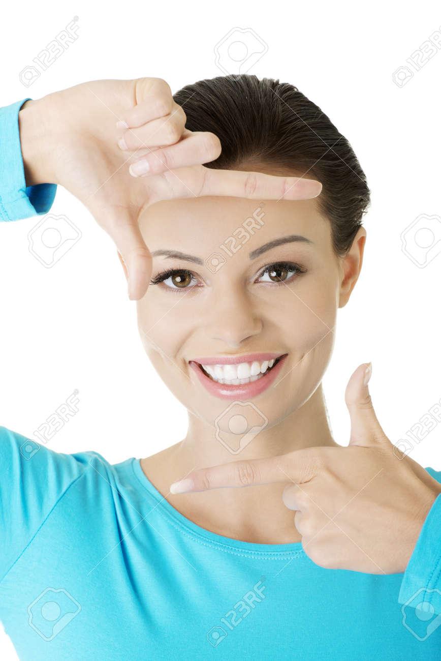 Mujer Sonriente Llevaba Blusa Azul Está Mostrando Marco Con Las ...