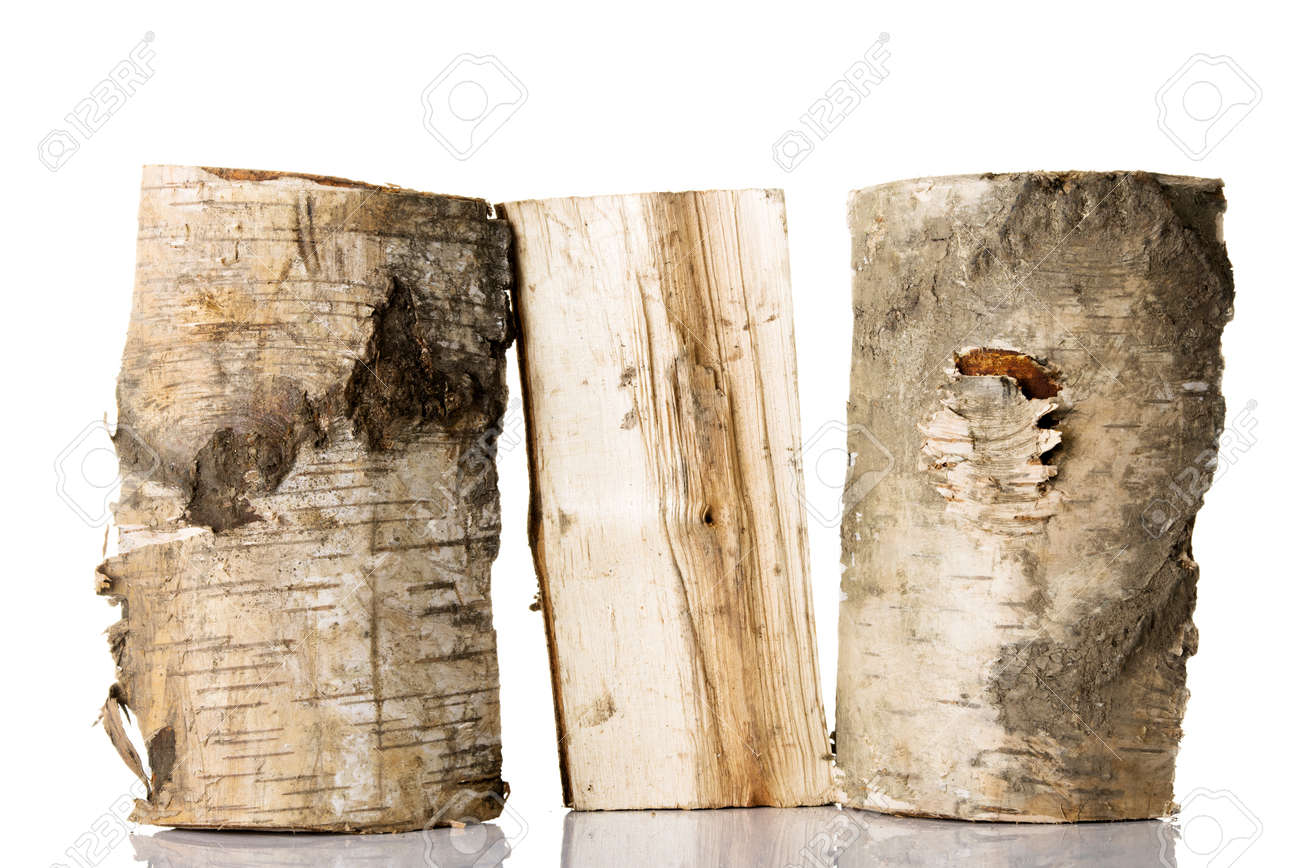 Cut log fire wood from birch-tree. Isolated on white. Stock Photo - 18141363