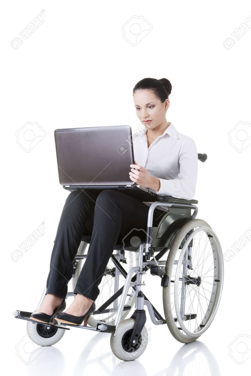 Attractive Smiling Disabled Businesswoman Sitting In A Wheel.. Stock ...