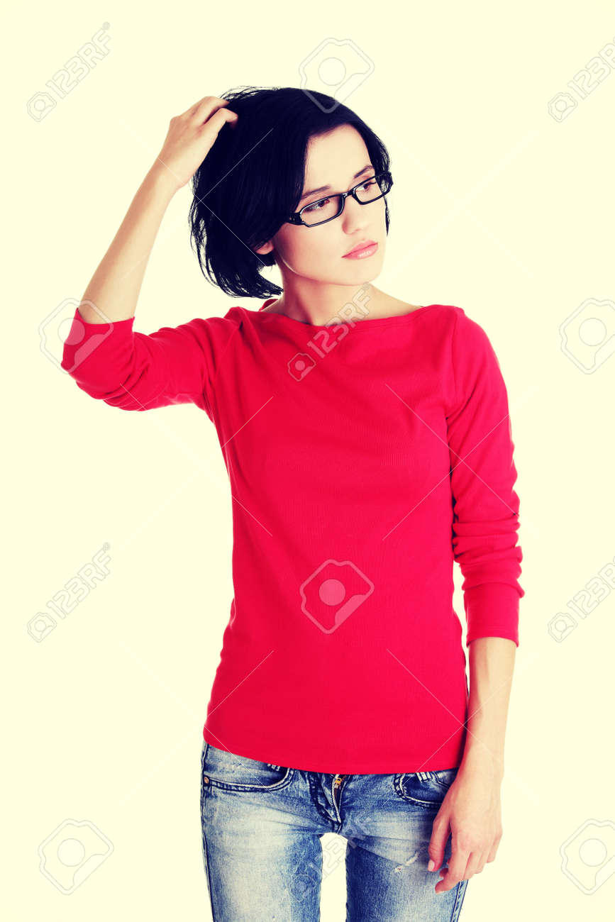 Thoughtful young woman with problem. Stock Photo - 29434104