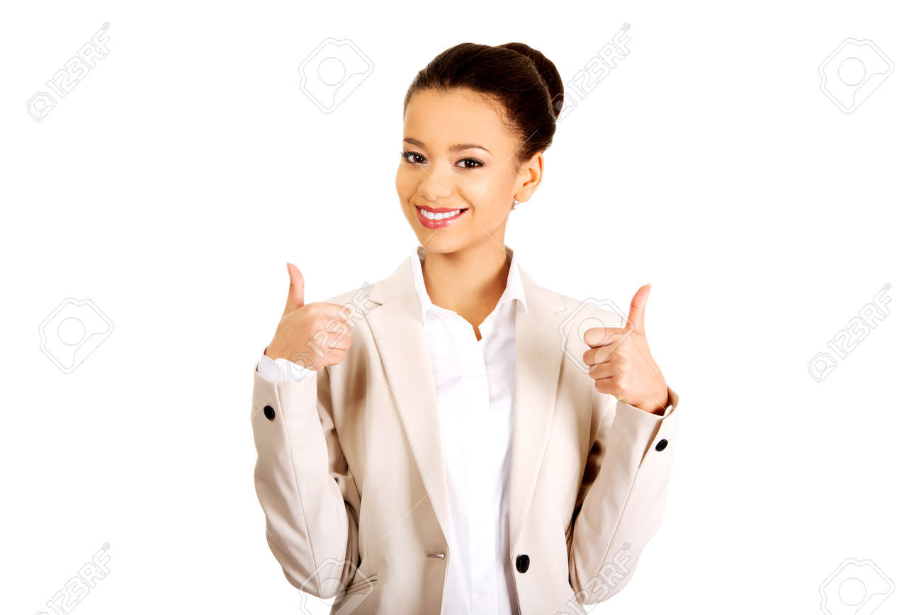 African businesswoman showing thumbs up. - 38653967