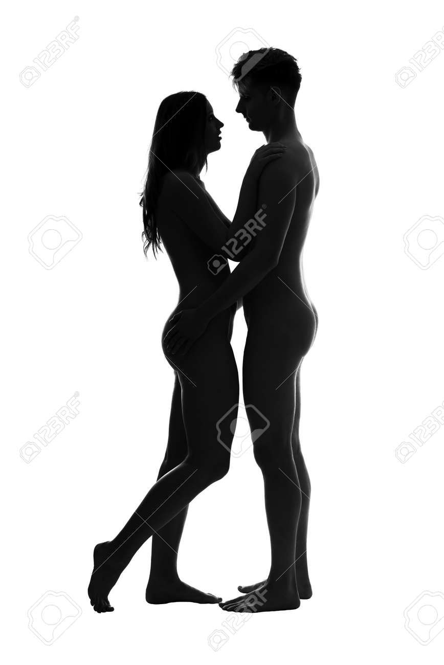 Stock photo young adult nude couple high contrast black and white