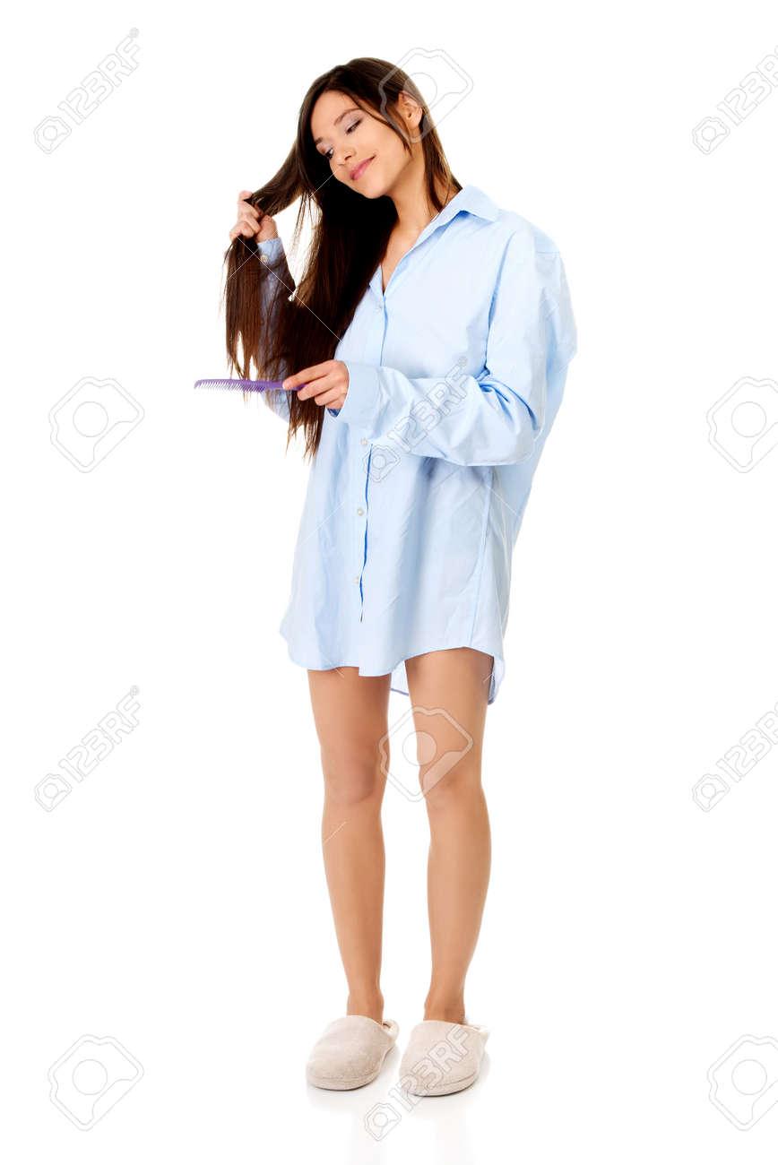 Camisa Mujer Grande Mañana Joven Peinándose Fotos Retratos En wPqgtRxP