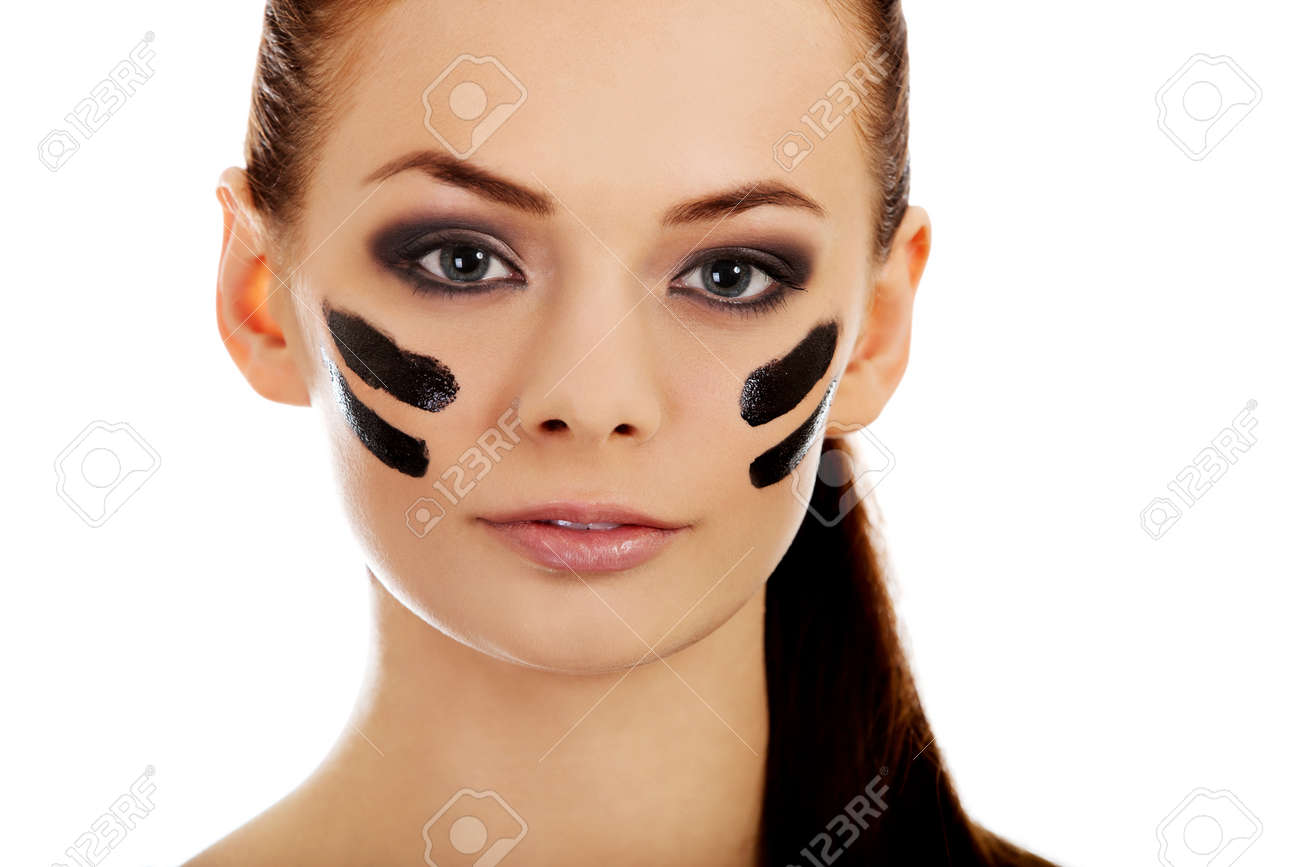 Young Military Women With War Paint On Face Stock Photo Picture