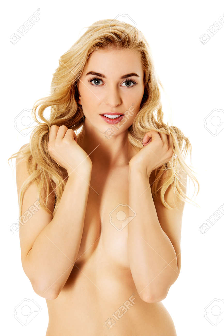 Beautiful slim woman covering her breast Stock Photo - 71075198