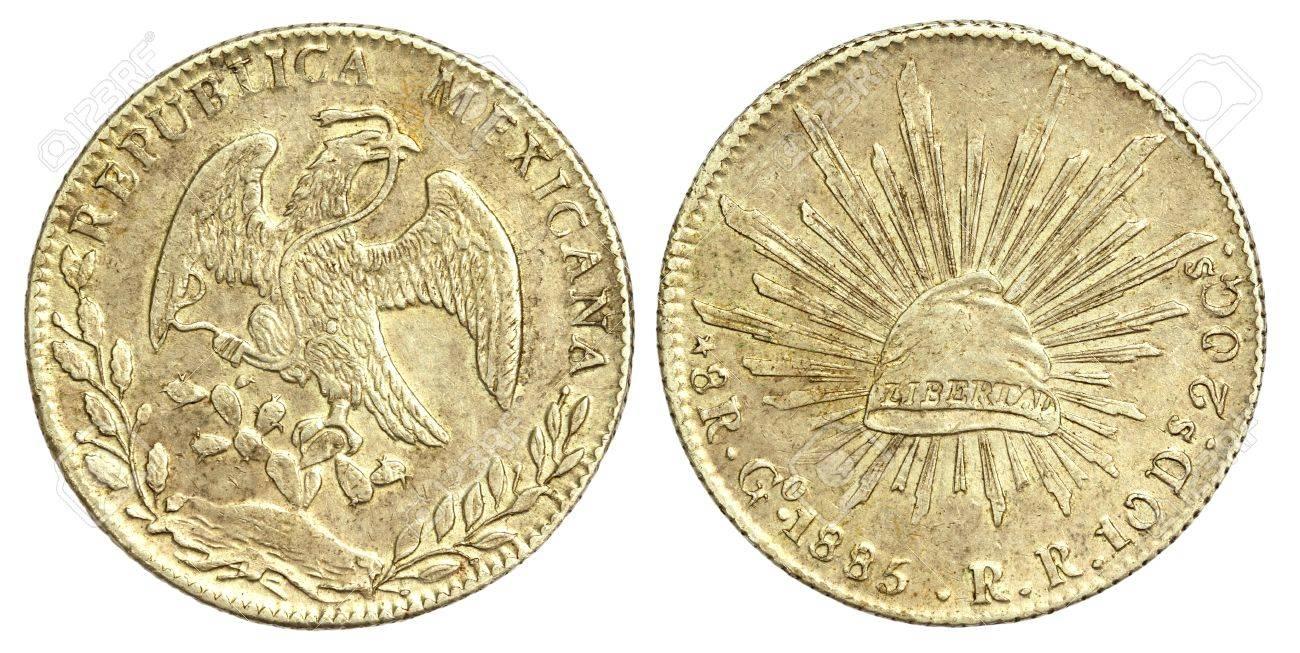 Alte Münze Des Mexikanischen 8 Reales 1885 Lizenzfreie Fotos Bilder