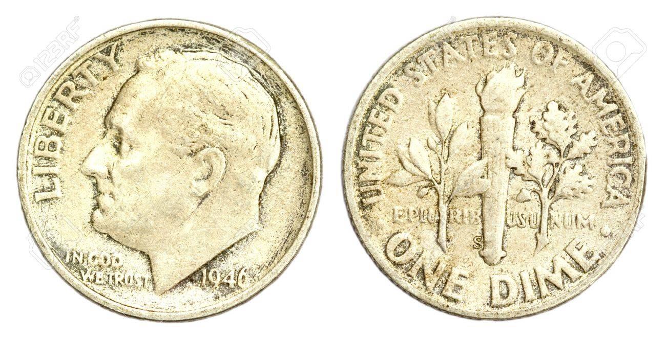 One Dime Münze Usa Von 1946 Lizenzfreie Fotos Bilder Und Stock