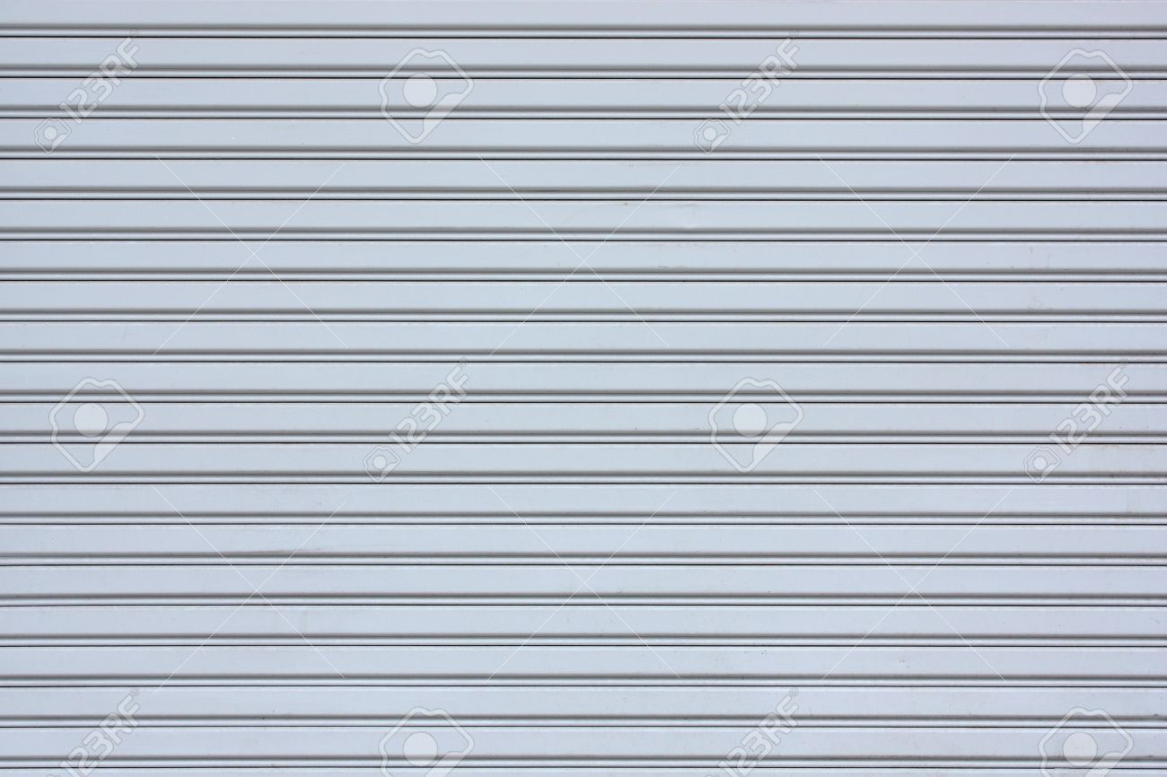 Gray Sliding steel door with horizontal lines Stock Photo - 9494836
