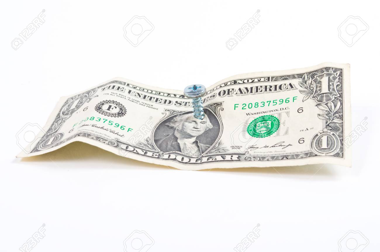 Dollar bill with screw through the middle of George Washinton's head. Stock Photo - 4496737