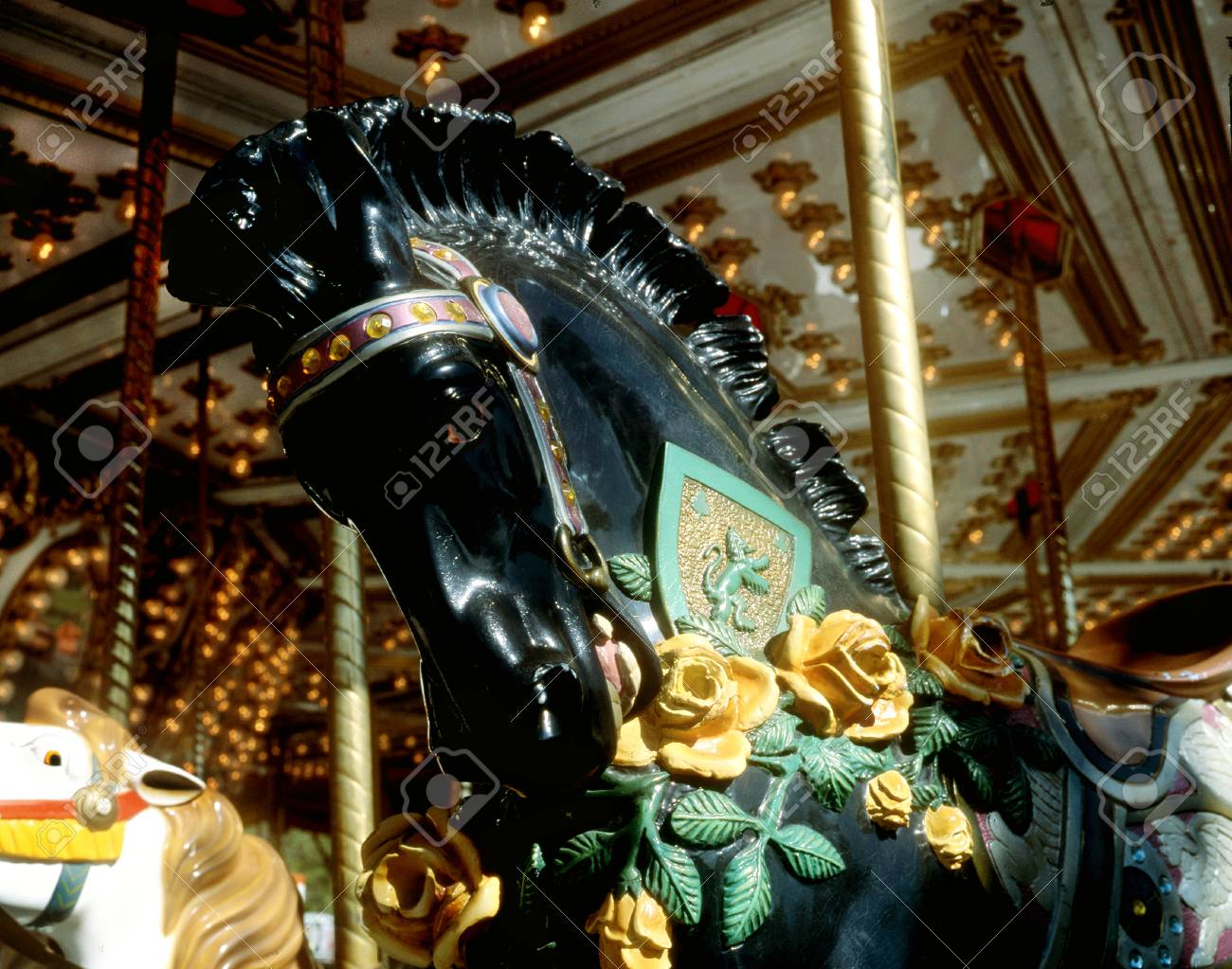 Black Carousel Horse With Yellow Roses Stock Photo Picture And Royalty Free Image Image 85608430