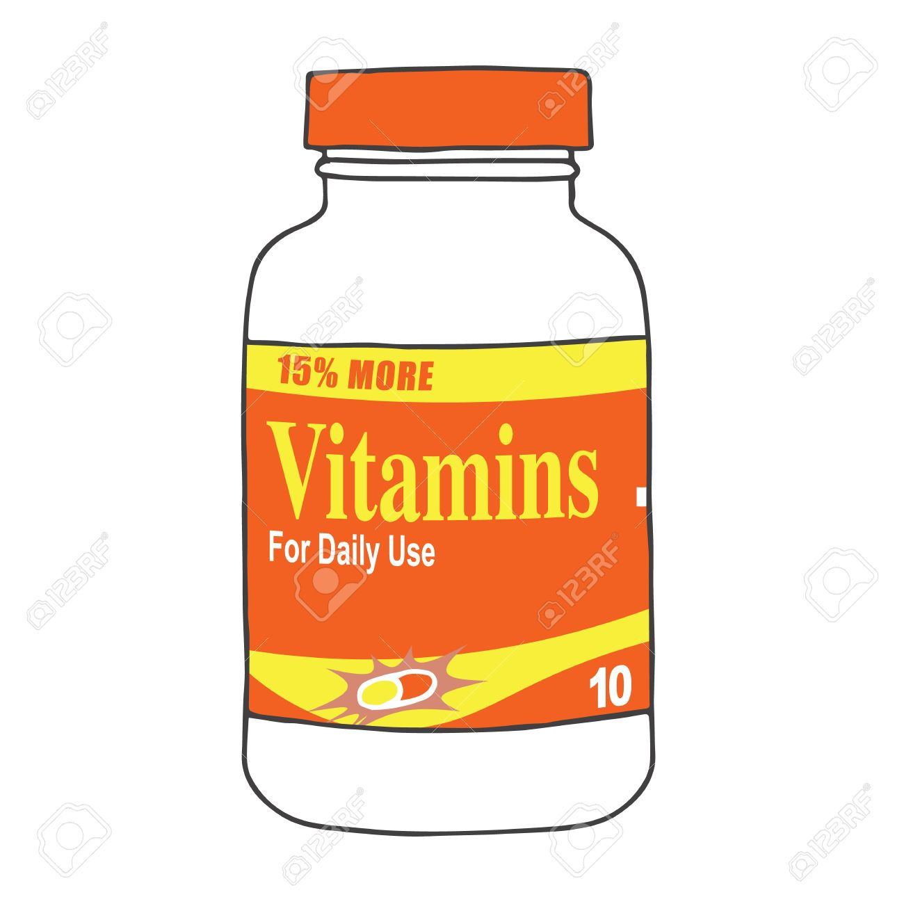 daily use vitamins keep you healthy and strong keep your bones rh 123rf com Vitamins Clip Art Black and White Clip Art Medicine Vitamins