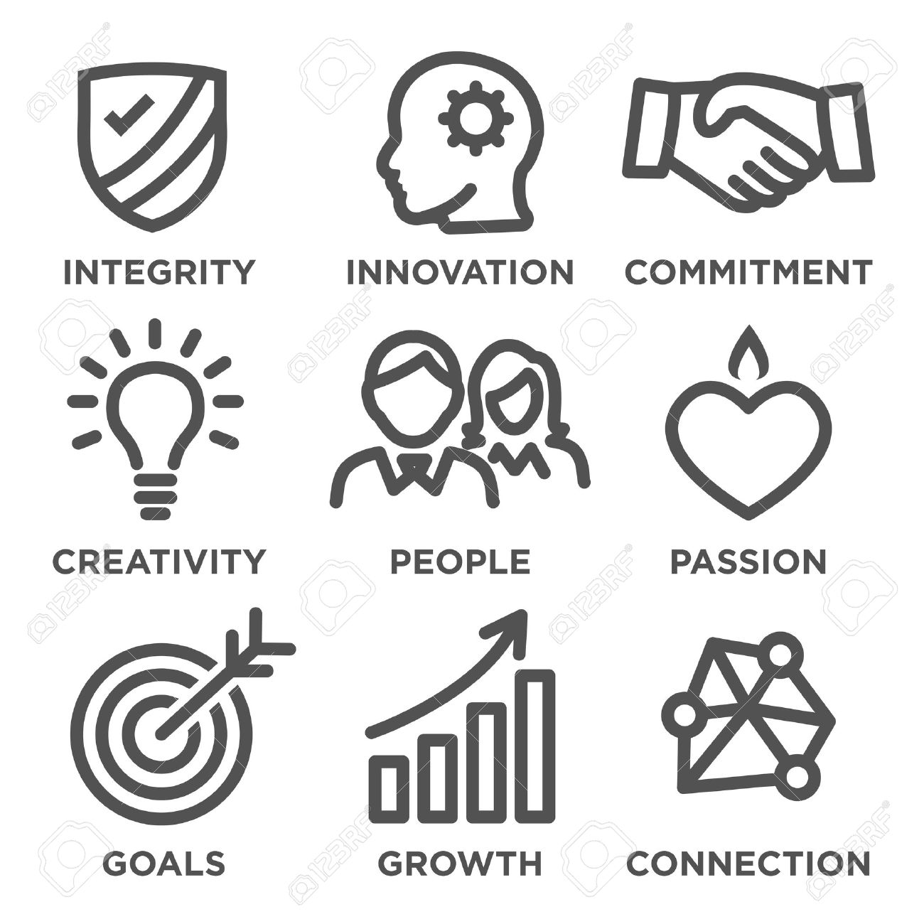 Company Core Values Outline Icons for Websites or Infographics - 57711734