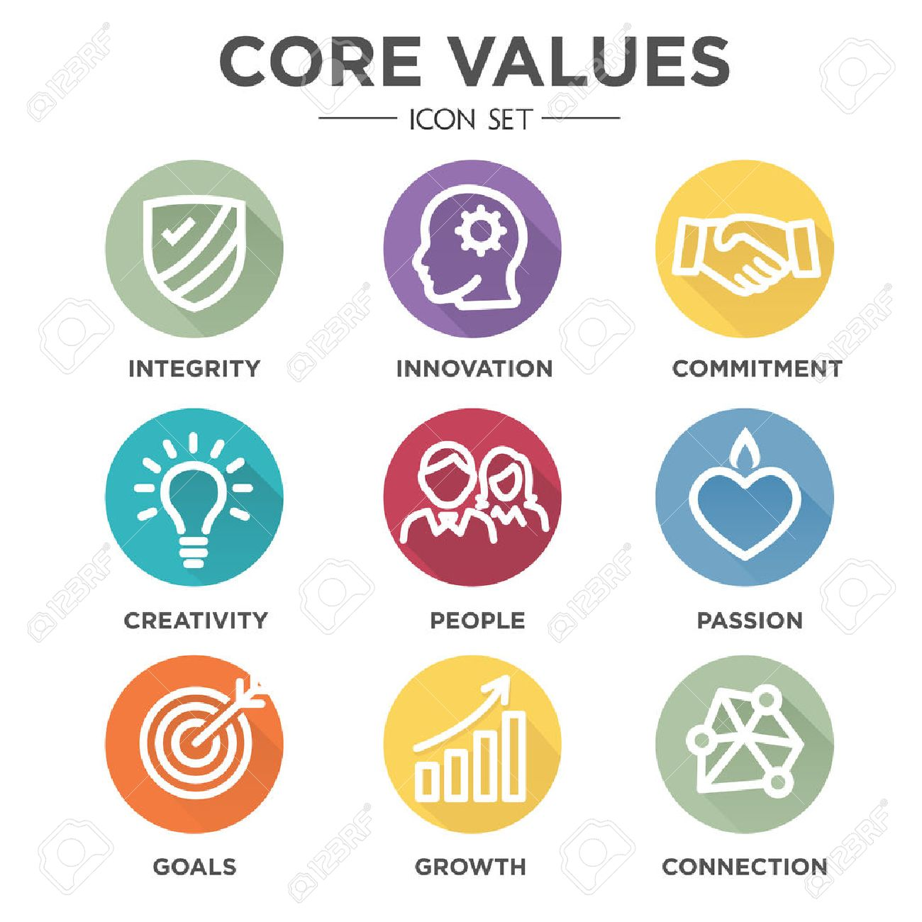 Company Core Values Outline Icons for Websites or Infographics - 57711731